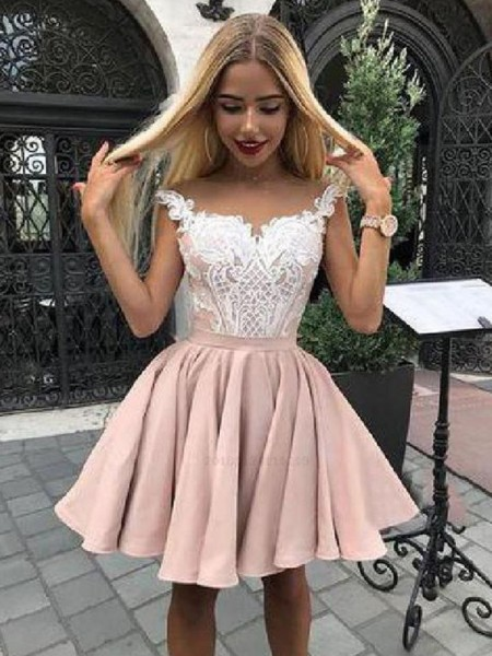 A-Line/Princess Satin Applique Off-the-Shoulder Sleeveless Short/Mini Dresses