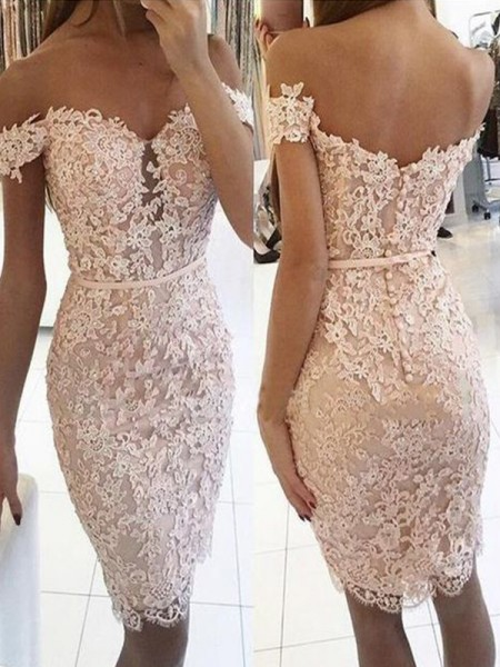 Sheath/Column Lace Off-the-Shoulder Sleeveless Knee-Length Short Dresses