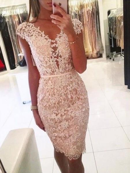 Sheath/Column Lace V-neck Sleeveless Knee-Length Short Dresses