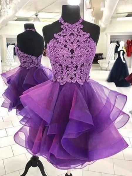 A-Line/Princess Organza Beading Halter Sleeveless Short/Mini Dresses