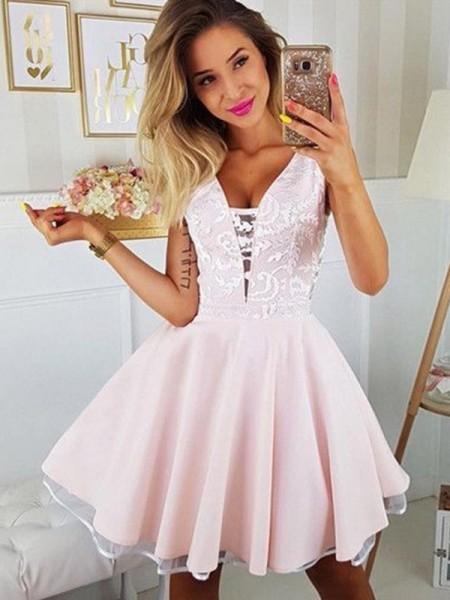 A-Line/Princess Satin Applique V-neck Sleeveless Short/Mini Dresses