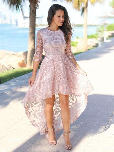 A-Line/Princess Satin Applique Sheer Neck 3/4 Sleeves Asymmetrical Short Dresses