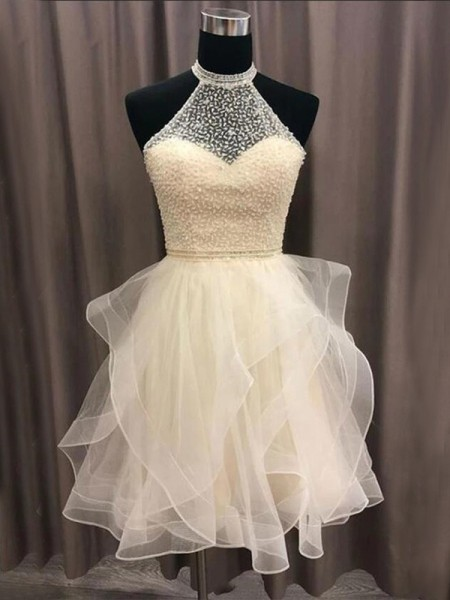 A-Line/Princess Organza Beading Sleeveless Short/Mini Homecoming Dresses
