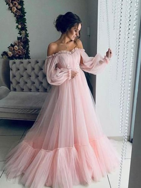 A-Line/Princess Tulle Applique Off-the-Shoulder Long Sleeves Floor-Length Dresses