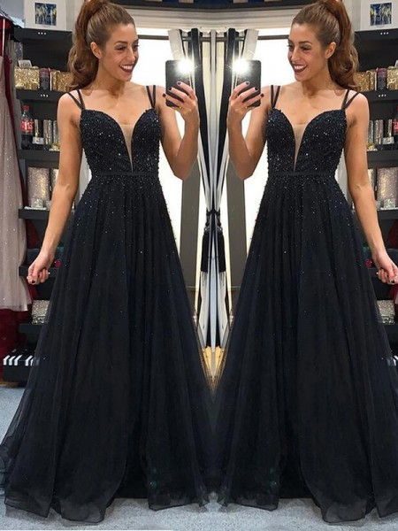 A-Line/Princess Tulle Beading Floor-Length Sleeveless Dresses