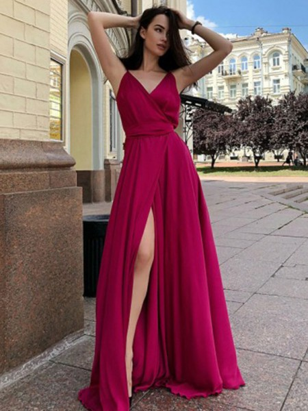 A-Line/Princess Satin Chiffon Ruffles Sleeveless Sweep/Brush Train Dresses