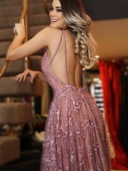 A-Line/Princess Tulle V-neck Applique Sleeveless Sweep/Brush Train Dresses