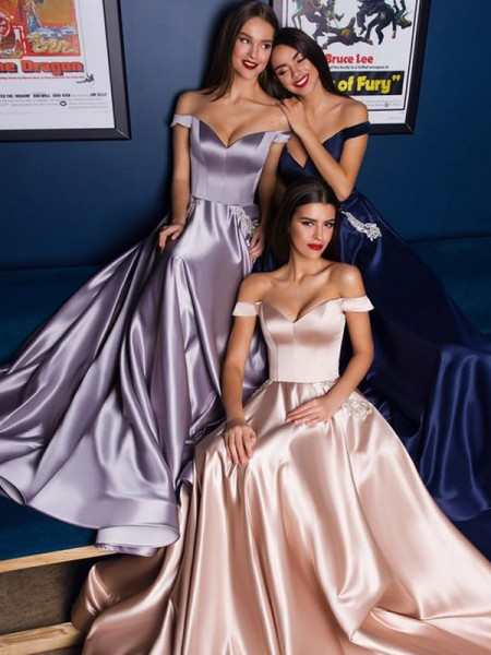A-Line/Princess Satin Off-the-Shoulder Sleeveless Sweep/Brush Train Dresses
