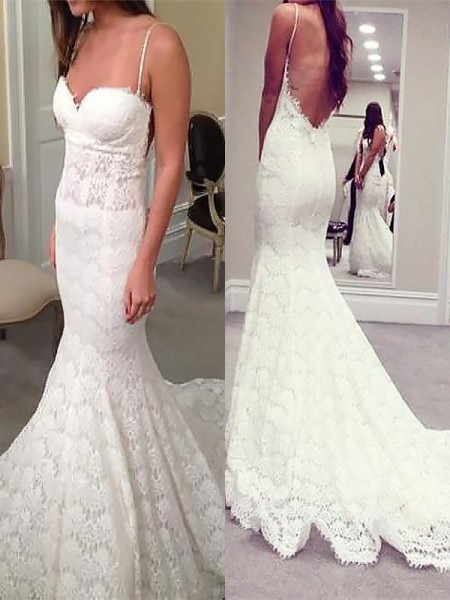 Trumpet/Mermaid Spaghetti Straps Court Train Lace Wedding Dresses