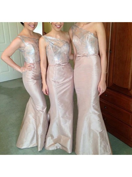 Trumpet/Mermaid One-Shoulder Satin Floor-Length Bridesmaid Dresses