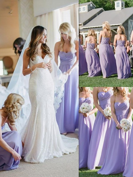 A-Line/Princess Chiffon Floor-Length Sweetheart Bridesmaid Dresses