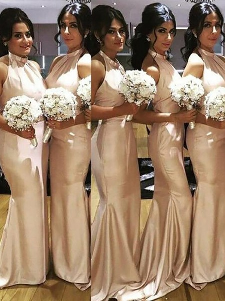 Trumpet/Mermaid Halter Floor-Length Satin Bridesmaid Dresses