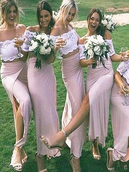 Sheath/Column Jersey Off-the-Shoulder Floor-Length Bridesmaid Dresses