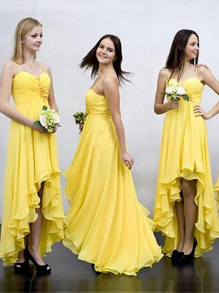 A-Line/Princess Asymmetrical Spaghetti Straps Chiffon Bridesmaid Dresses