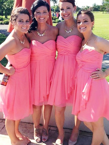 A-Line/Princess Short/Mini Sweetheart Chiffon Bridesmaid Dresses