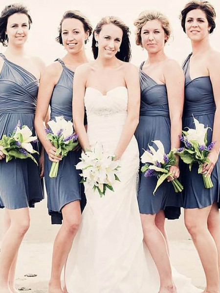 A-Line/Princess Chiffon One-Shoulder Short/Mini Bridesmaid Dresses