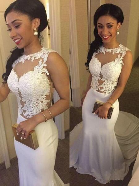 Trumpet/Mermaid Satin Scoop Court Train Applique Wedding Dresses