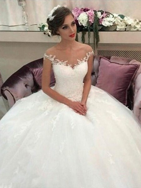 Ball Gown Off-the-Shoulder Court Train Tulle Wedding Dresses