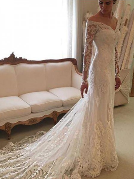 Sheath/Column Lace Off-the-Shoulder Court Train Wedding Dresses