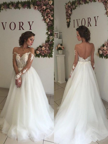 A-Line/Princess Organza Off-the-Shoulder Sweep/Brush Train Wedding Dresses