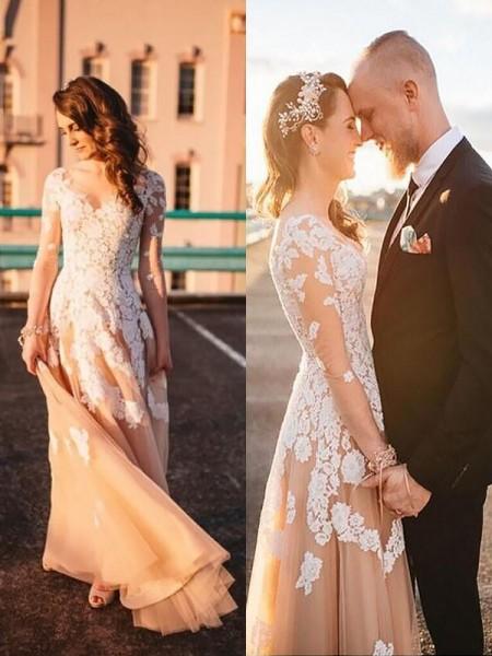A-Line/Princess Tulle V-neck Lace Sweep/Brush Train Wedding Dresses