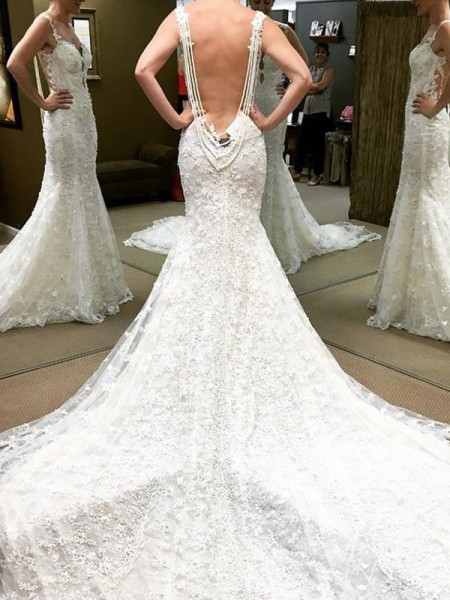 Ball Gown Floor-Length Off-the-Shoulder Lace Wedding Dresses