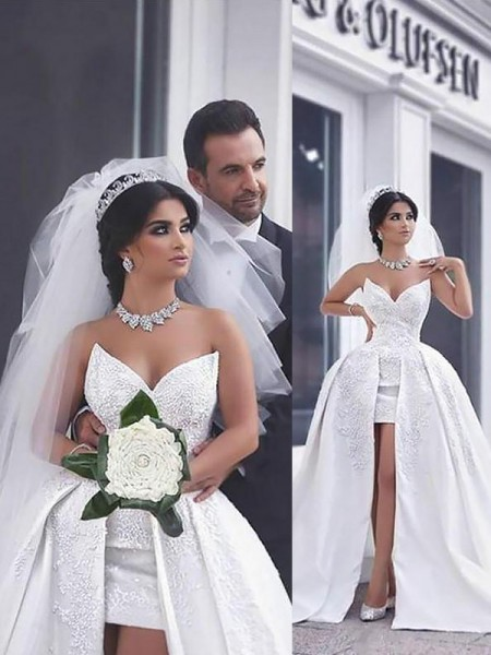 Ball Gown Satin Chapel Train Sweetheart Wedding Dresses