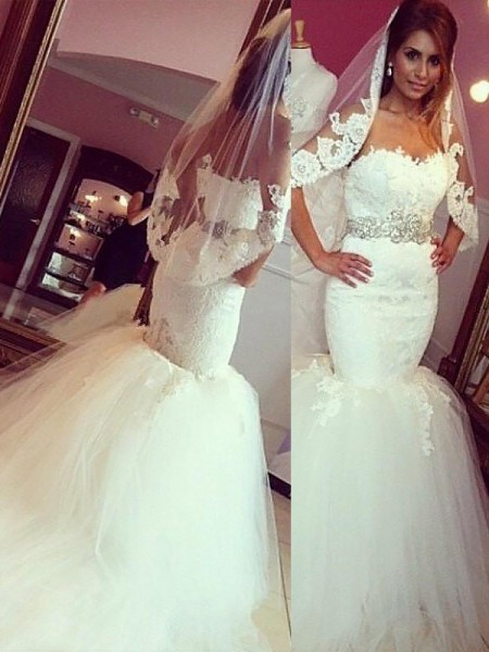 Trumpet/Mermaid Lace Tulle Sweetheart Court Train Wedding Dresses
