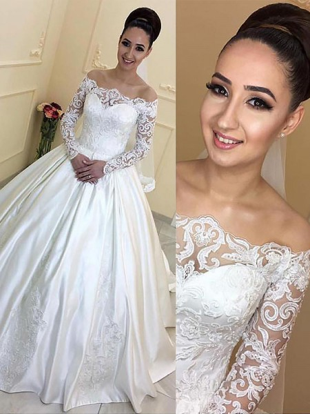 Ball Gown Off-the-Shoulder Satin Court Train Wedding Dresses