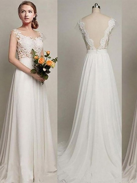 A-Line/Princess Chiffon Scoop Sweep/Brush Train Wedding Dresses
