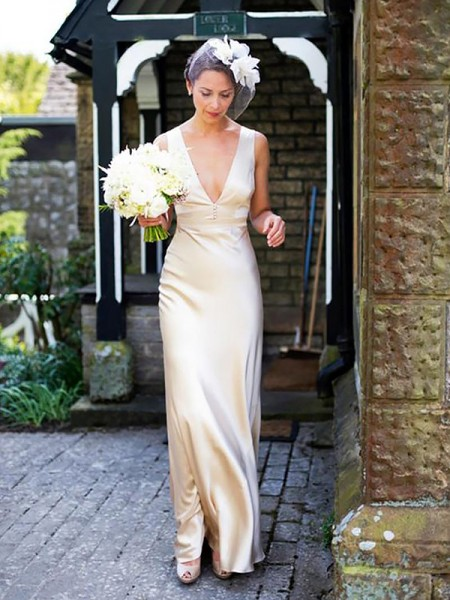 Sheath/Column Satin V-neck Sweep/Brush Train Wedding Dresses