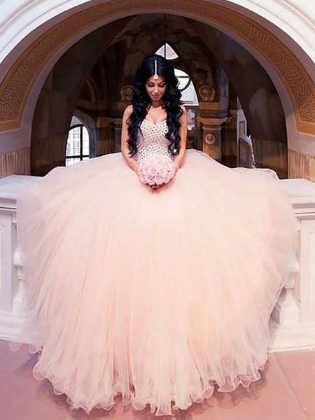 Ball Gown Tulle Sweetheart Sweep/Brush Train Wedding Dresses