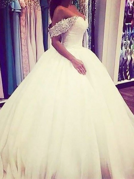 Ball Gown Tulle Off-the-Shoulder Sweep/Brush Train Wedding Dresses