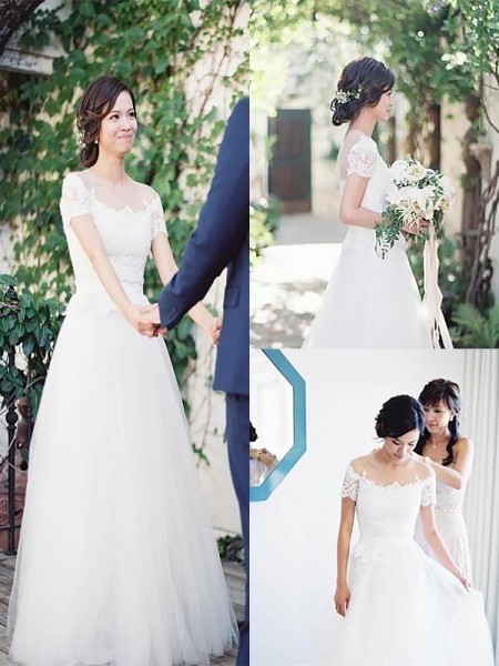 A-Line/Princess Bateau Tulle Sweep/Brush Train Wedding Dresses