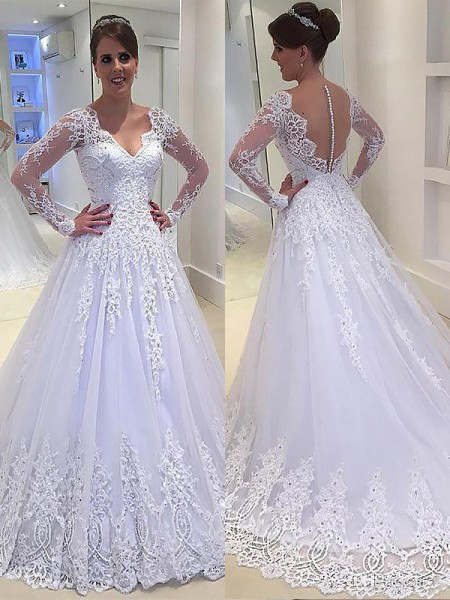 A-Line/Princess Tulle V-neck Court Train Applique Wedding Dresses