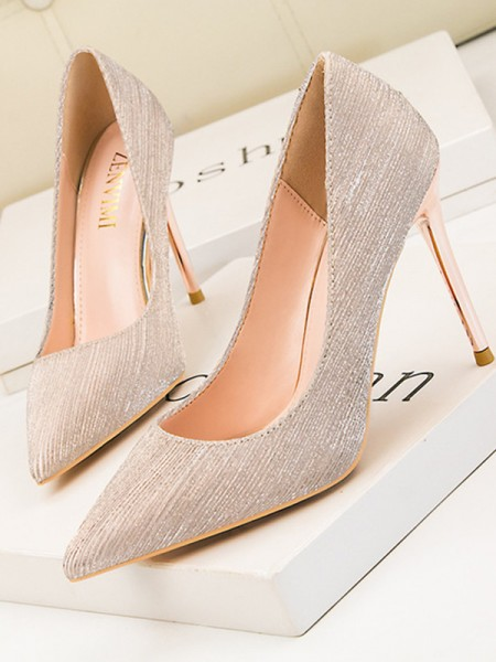 Leatherette Stiletto Heel Closed Toe High Heels