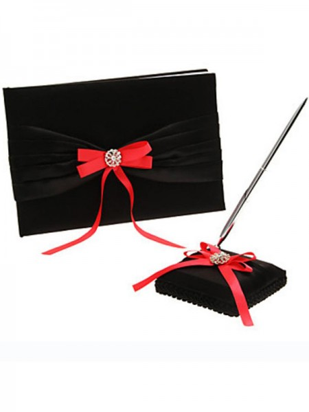 Gorgeous Cloth With Bowknot Guestbook & Pen Set