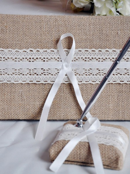 Awesome Cloth With Ribbon Guestbook & Pen Set
