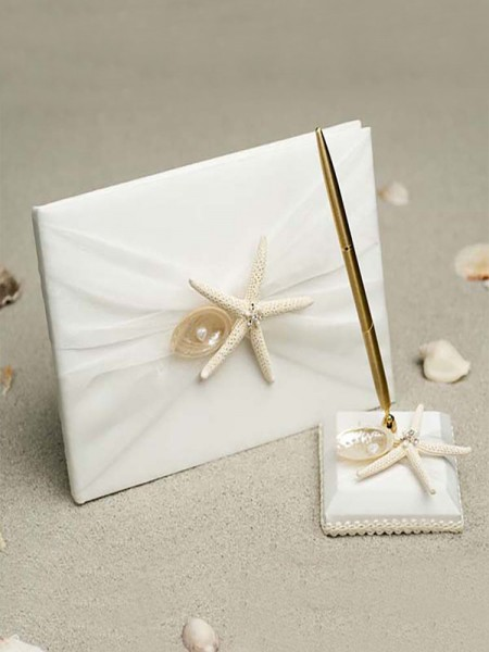 Stunning Cloth With Starfish/Shell Guestbook & Pen Set & Ring Pillow & Flower Basket