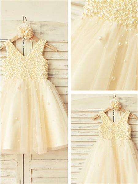 A-line/Princess V-neck Sleeveless Pearls Tea-Length Tulle Flower Girl Dresses