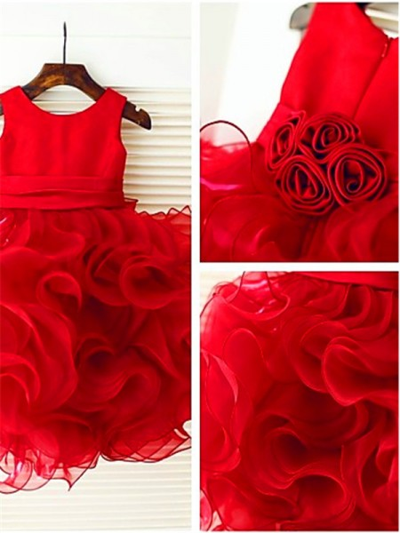 Ball Gown Scoop Layers Tea-Length Organza Flower Girl Dress