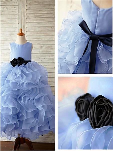 Ball Gown Scoop Ruffles Floor-Length Organza Flower Girl Dress