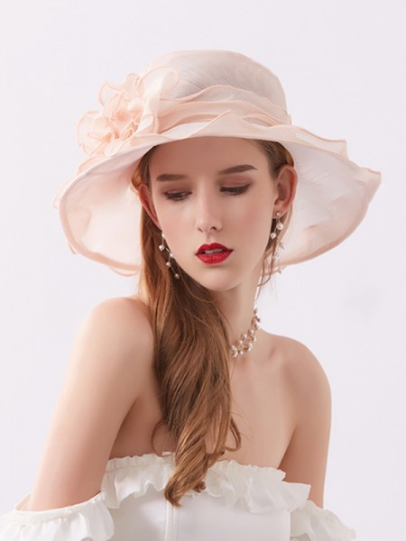 Ladies' Eye-catching Net Silk Flower Adjustable Kentucky Derby Hats/Tea Party Hats