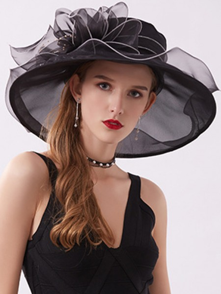 Ladies' Romantic Organza Silk Flower Adjustable Kentucky Derby Hats/Tea Party Hats