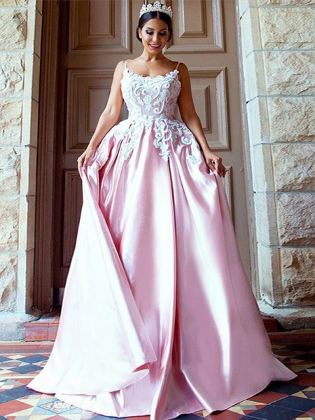 Ball Gown Sleeveless Spaghetti Straps Sweep/Brush Train Satin Dresses