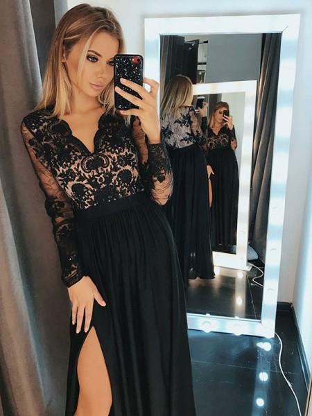 A-Line/Princess Long Sleeves Floor-Length V-neck Applique Chiffon Dresses