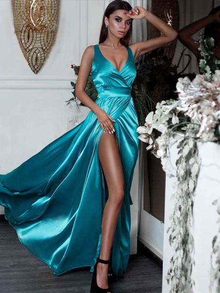 A-Line/Princess Sleeveless Ruffles V-neck Floor-Length Satin Dresses