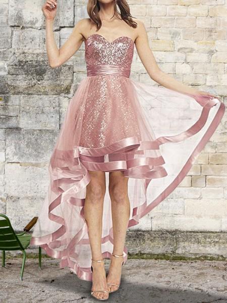 A-Line/Princess Sleeveless Sweetheart Sequin Asymmetrical Organza Dresses