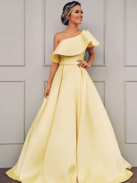 A-Line/Princess Sleeveless Sweep/Brush Train Ruffles One-Shoulder Satin Dresses