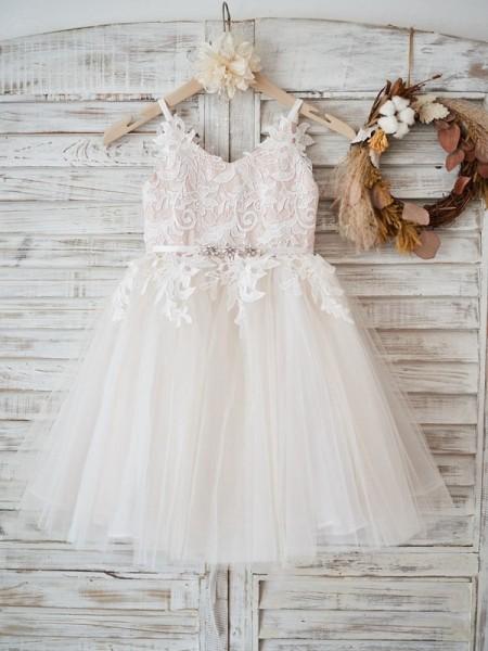A-Line/Princess Tulle Lace V-neck Sleeveless Knee-Length Flower Girl Dresses